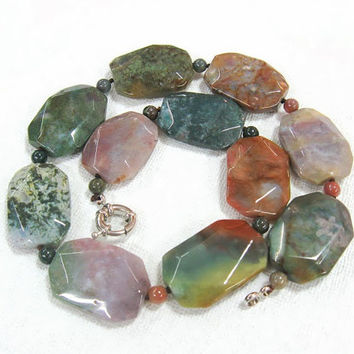 Fancy Jasper stone Necklace,  Chunky Bold Multicoloured statement jewelry, Earthy Forest Green Pink Mauve Gray Rustic Natural