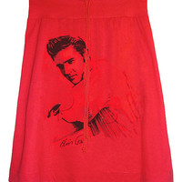 Elvis Presley Ranger Photo Printed Red Aline T-Shirt Skirt