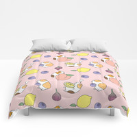 Guinea pig and fruits pattern Comforters by noristudio