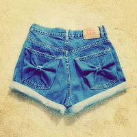 Blue Bow Pocket High Waisted Denim Shorts