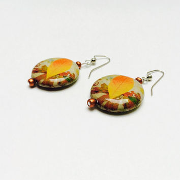 Fall leaf earrings, leaf earrings, fall jewelry, autumn, leaf jewelry, dangle earrings, pierced earrings, decoupage, orange and gold