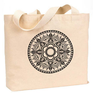 "Mandala sacred geometric lotus flower Canvas Jumbo Tote Bag 18""w x 11""h"