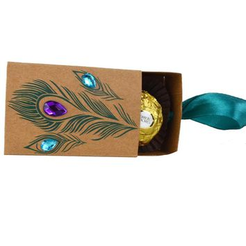 Peacock  Feather  Candy  Boxes  Drawer  Design  Wedding