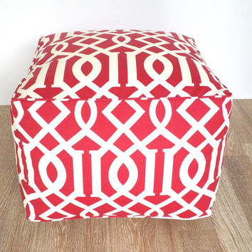 Red square pouf ottoman, red outdoor pouf 20x20x14, imperial trellis pouf, red bean bag chair for outside porch decor, outside chair seating
