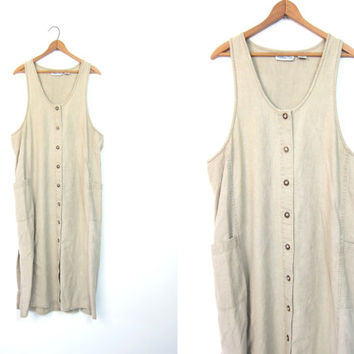 Natural Beige Dress Linen Cotton Button Front Frock Long SunDress 90s Minimal Boho Slip Dress Basic Vintage Sun Dress Small Medium DELLS