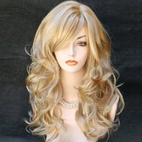 Harajuku Cosplay Wig Party Women Fashion Long Wavy Curly Costume Synthetic Hair Sexy Blonde Wigs Female Peruca Pelucas