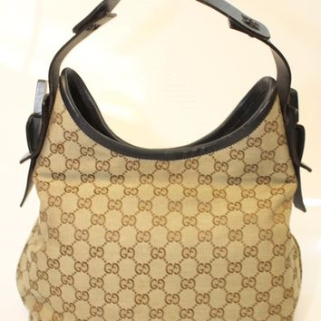 Gucci Beige/Ebony GG Jacquard And Espresso Leather Hobo Handbag Made in Italy pv