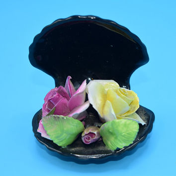 Capodimonte Flowers in Black Shell Vintage Porcelain Oyster Shell Pink Yellow Roses Gift for Her Wedding Decor Gift Christmas Gift