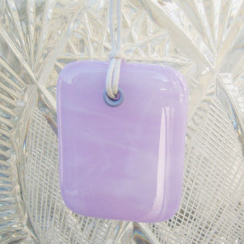 Lilac White fused glass pendant on white cord
