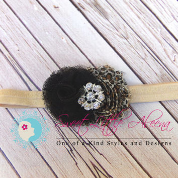 Fancy Leopard Headband~Baby Cheetah Headband~Newborn Photo Prop~Infant Flower Bow~Girls Hair Clip