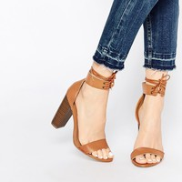 Missguided Block Heel Sandal With Tie Detail