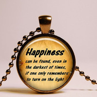 Happiness Harry Potter Pendant - Harry Potter Necklace - Harry Potter Jewelry - Dumbledore Quote - Harry Potter Gifts quote book necklace