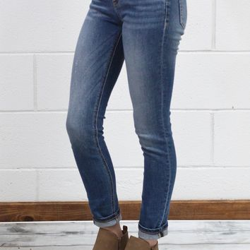 Mid-Rise Whiskered Blue Skinny Jeans {Medium Wash}