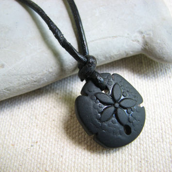 Sand Dollar Jewelry, Black Glass Mens Necklace, Black Leather Cord , Glass SandDollar Mens Pendant Necklace, Beach Jewelry