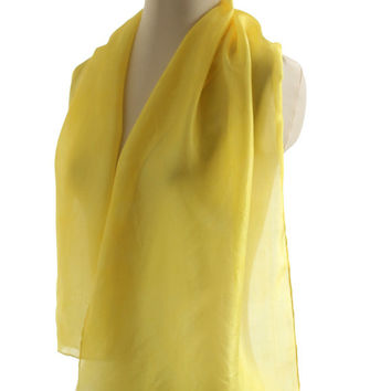 Yellow silk scarf, naturally dyed scarf hand dyed plant dyed silk, lemon citrus yellow scarf silk, buttercup yellow shawl, spring scarf