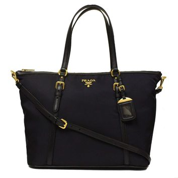 Prada Tessuto Saffian Nylon and Leather Shopping Tote Bag BR4253, Black / Nero