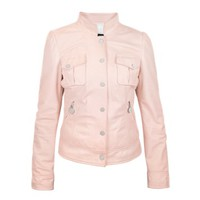 Forzieri Designer Leather Jackets Pink Washed Leather Jacket with Mandarin Collar