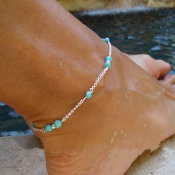 Fashion handmade beaded, turquoise bead anklets