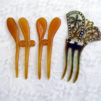 Lot Of Celluloid Hair Combs  Apple Juice And Brown With Rhinestones Antique Destash Vintage Collectible Item  2274