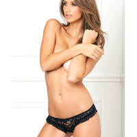 Crotchless Floral Lace Ruffle Panty