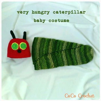 Crocheted Very Hungry Caterpillar Baby Bunting Bag and Hat Newborn Photo Prop