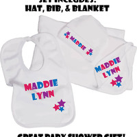 Personalized New Baby Gift Set. Great Baby Shower Gift. New Baby. Baby Girl. Baby Shower Gift Set. Personalized. Custom. Pink Pig Printing.