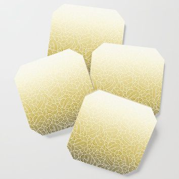 Faded yellow and white swirls doodles Coaster by savousepate