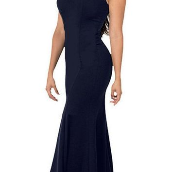 Illusion Round Neckline Sleeveless Long Formal Dress Navy Blue