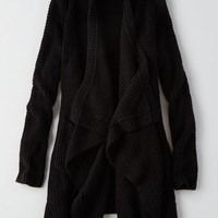 AEO Draped Cardigan, True Black | American Eagle Outfitters
