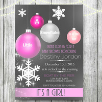 Snowflake Baby Shower Invitation,winter baby shower decorations baby its cold outside hanging ornaments Girl or Boy Neutral
