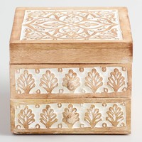 Whitewashed Carved Wood Jewelry Box
