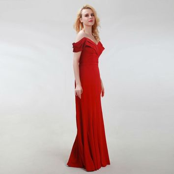 Elegant Red Evening Dresses Long Sexy Off the Shoulder Simple Prom Party Gowns for Women