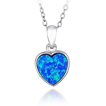 Sterling Silver Created Blue Opal Heart Necklace