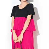 Pink and Black Color Block Ruffled Chiffon Mini Dress