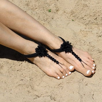 Boho Black Barefoot Sandal, Crochet Beaded Beach Wedding Sandles, Gypsy Bohemian Sandals, Toe Ring Anklet Jewelry, Nude Footless Shoes