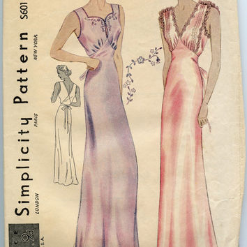 1930s Vintage Sewing Pattern Rare Simplicity S601 Elegant Bias Cut Nightgown Lingerie Pattern Tucks & Lace Trimmed Bust 34