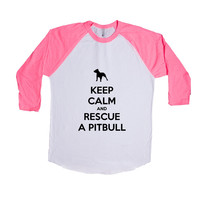 Keep Calm And Rescue A Pitbull Puppy Doggies Doggie Dogs Puppies Pet Pets Mutt Mutts Animals Animal Lover Rescue Unisex Adult T Shirt SGAL3 Baseball Longsleeve Tee