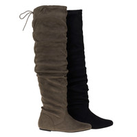 Longbay By Soda, Over Knee Flat Flexible Slouchy Faux Suede Boots w Back Lace Tie