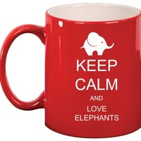 Keep Calm and Love Elephants Ceramic Coffee Tea Mug Cup Red