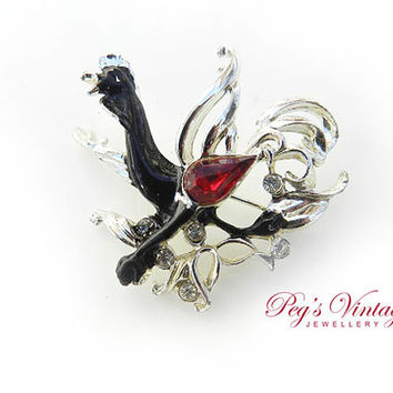Black And Silver Tone Rooster/Roadrunner Bird  Pin/Brooch, Red And Clear Rhinestone, Vintage Jewelry Jewellery
