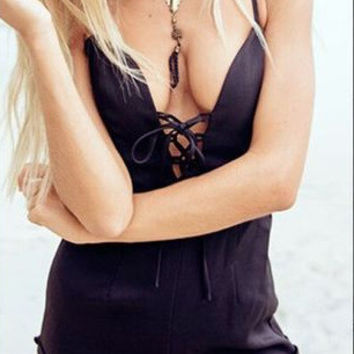 Summer Deep V Black Romper [4915021508]