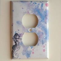 Sea Horse Art Decorative Light Switch Plate Cover by idillard