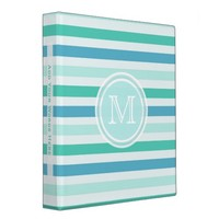 Monogram: Blue and Green Striped Binder