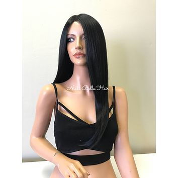 Black Human Hair Blend Multi Part SWISS LACE 3x3 Lace Front Wig - Camila