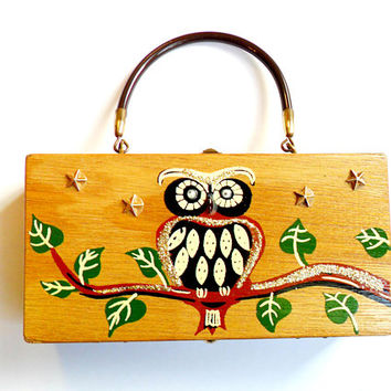 Vintage Gary Gails Dallas Box Purse Painted Wooden Cigar Box Owls Glitter Googly Eyes Stars Kitsch Made in Japan Handbag Bag