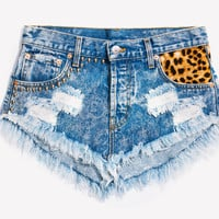 Beware Cheetah Studded Babe Shorts