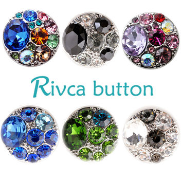 D02302 Newest Design 18 color High Quality Rhinestones Snap Button Bracelet For Women Fit 18mm Rivca Snap Button Jewelry