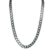 Men's Black Rhodium-Plated Curb-Link 12 mm Necklace Chain 30""