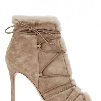 Aspen fawn shearling and suede ankle boots - Boots - All Shoes - Women