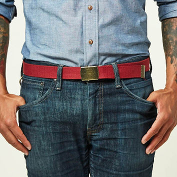 Cranberry Red Cotton Web Military Belt